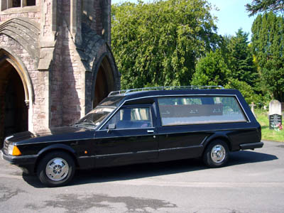 One of our MK2 Granada Hearses in the graveyard